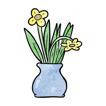 Cartoon bloemen in vaas