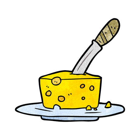 cartoon knife in block of cheese  イラスト・ベクター素材