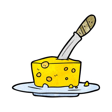 Cuchillo de dibujos animados en bloque de queso Foto de archivo - 95134787