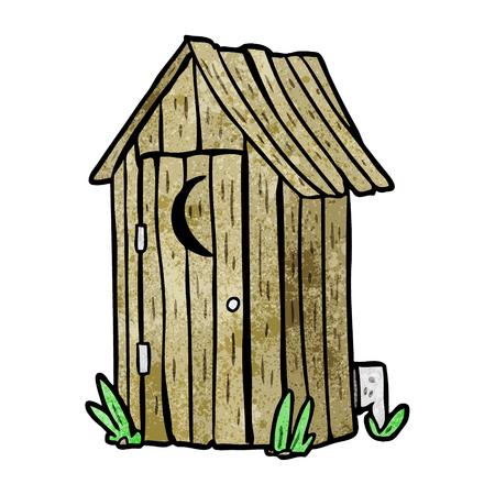 cartoon traditional outdoor toilet with crescent moon window
