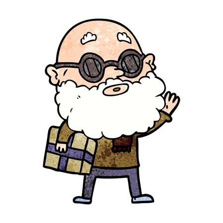 cartoon curious man with beard sunglasses and present Ilustração