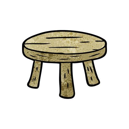 cartoon small wooden stool Ilustrace