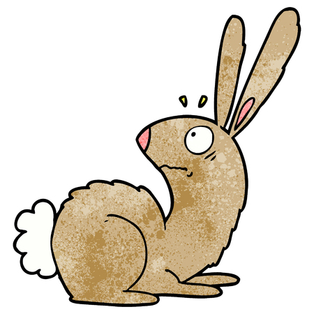 cartoon startled bunny rabbit 向量圖像