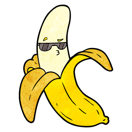 cartoon banana with glasses