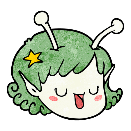 cartoon alien space girl face
