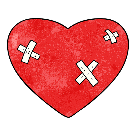 cartoon beaten up heart Ilustracja