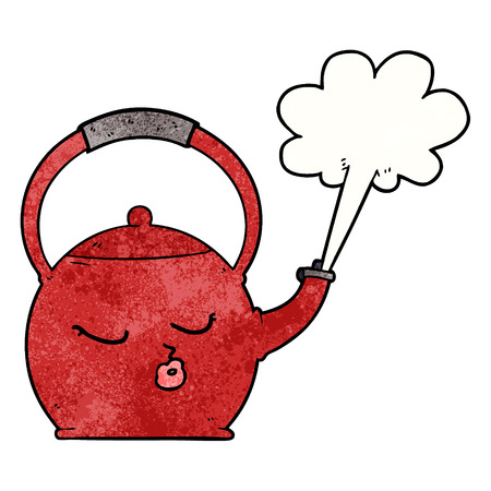 cartoon boiling kettle Ilustrace