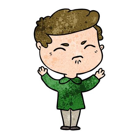 cartoon annoyed man Illusztráció