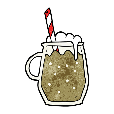 ストローとルートビールの漫画グラス