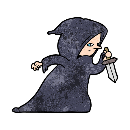 cartoon assassin in dark robe