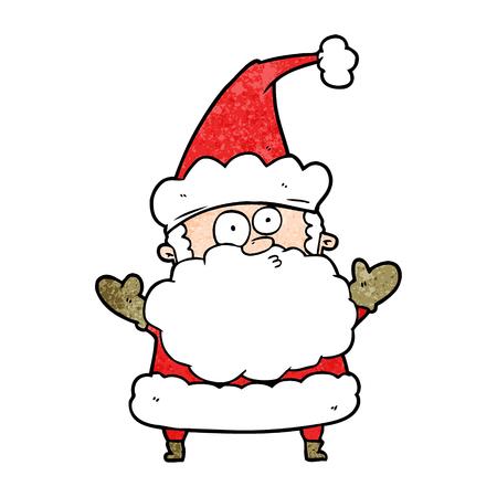 Cartoon confused Santa Claus shurgging shoulders Illustration