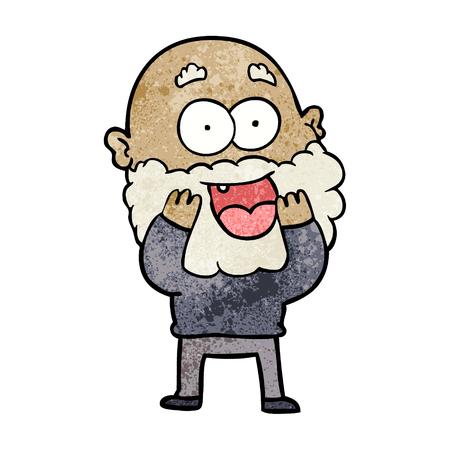 cartoon crazy happy man with beard gasping