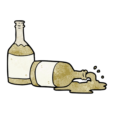 cartoon beer bottles with spilled beer