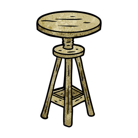 cartoon adjustable artist stool Ilustrace