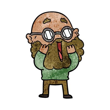 Cartoon amazed man with beard Çizim