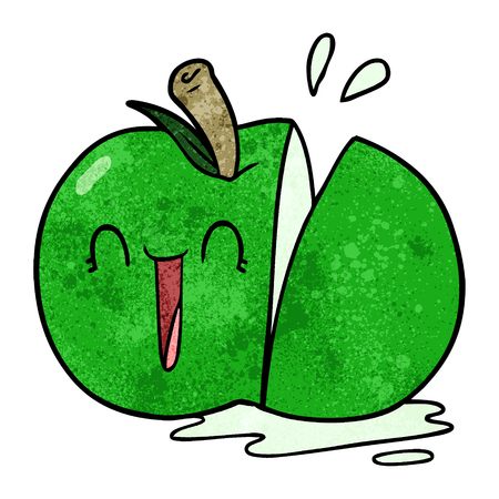 Happy cartoon sliced apple Illustration