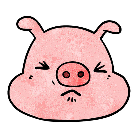 Cartoon angry pig face
