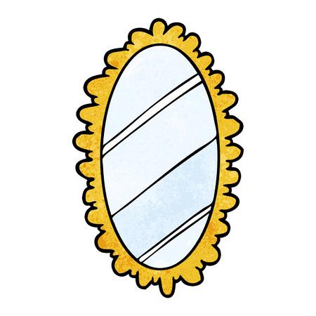 Cartoon framed old mirror Stock Illustratie