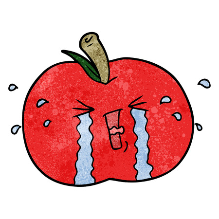 Cartoon apple crying Illustration