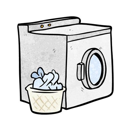 Cartoon washing machine and laundry  イラスト・ベクター素材