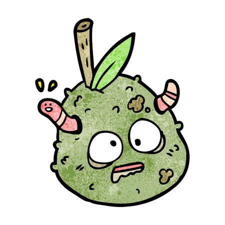 Cartoon rotting old pear with worm 일러스트