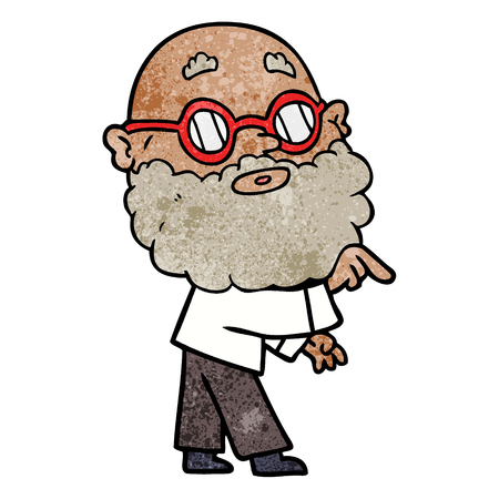cartoon curious man with beard and glasses Çizim