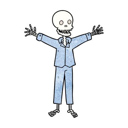 cartoon skeleton wearing pajamas 일러스트