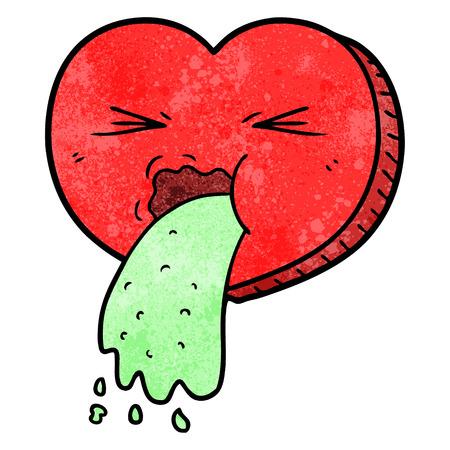 cartoon love sick heart Vektorové ilustrace