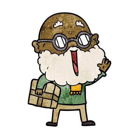 cartoon joyful man with beard and parcel under arm Vettoriali
