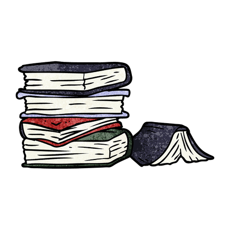 cartoon pile of books Illustration
