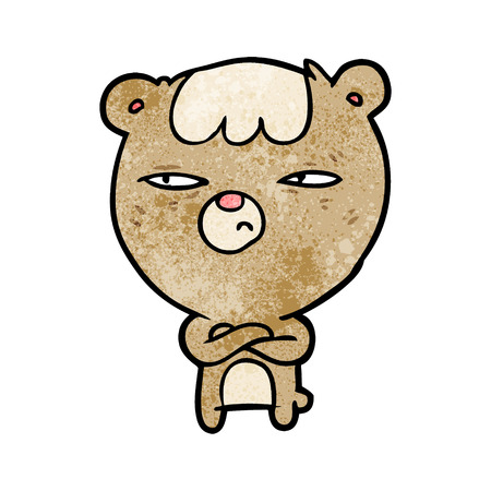cartoon annoyed bear with arms crossed 向量圖像