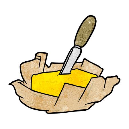 나이프와 함께 버터의 만화를 두드려라. 일러스트
