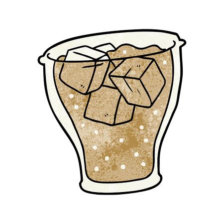 氷とコーラの漫画グラス  イラスト・ベクター素材