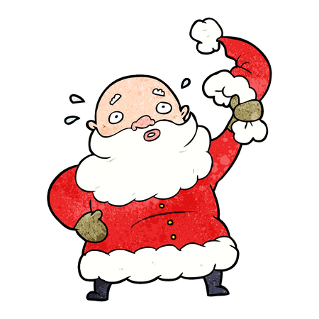 cartoon santa claus waving his hat Illustration