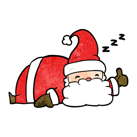 cartoon sleepy santa giving thumbs up symbol