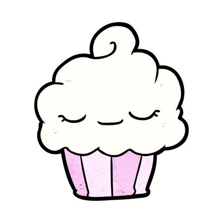 funny cartoon cupcake  イラスト・ベクター素材