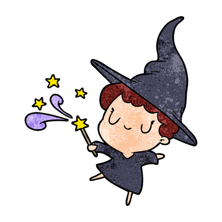 Cute cartoon witch casting a spell vector illustration