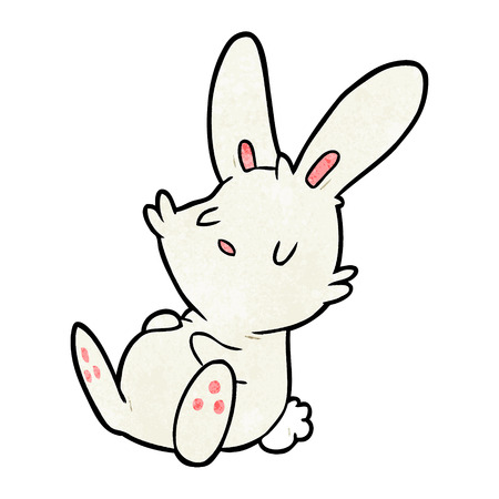 Cute cartoon rabbit sleeping illustration on white background. Çizim