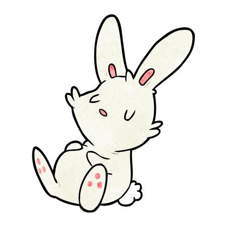 Cute cartoon rabbit sleeping illustration on white background. Vettoriali