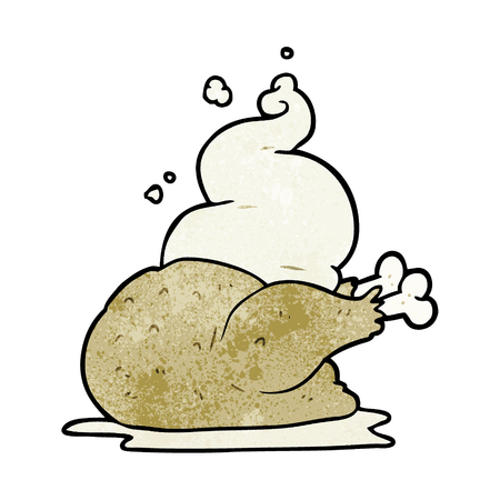 Cartoon whole cooked chicken illustration on white background.