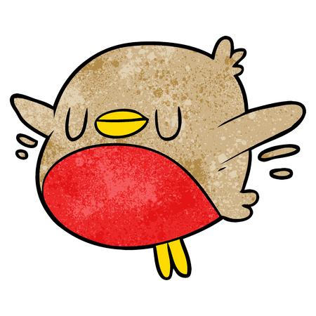 Cute cartoon Christmas robin illustration on white background.