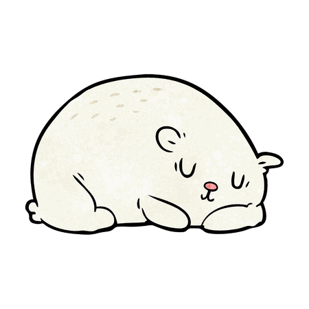 Cartoon sleepy polar bear illustration on white background.