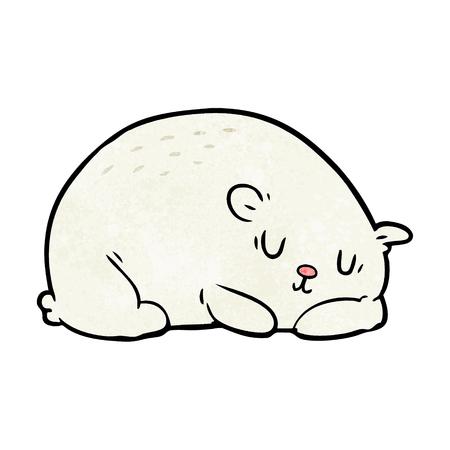 Cartoon sleepy polar bear illustration on white background.
