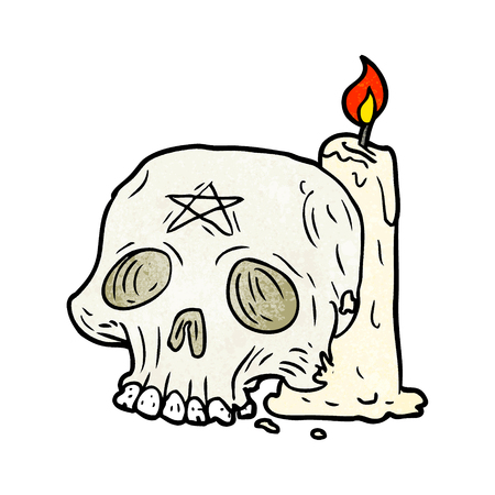 Cartoon spooky skull and candle illustration on white background.