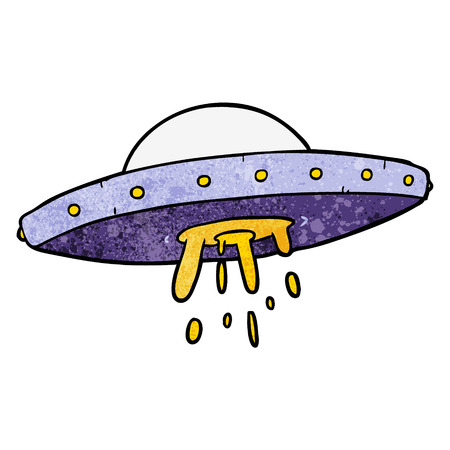 Cartoon flying UFO illustration on white background. Illustration