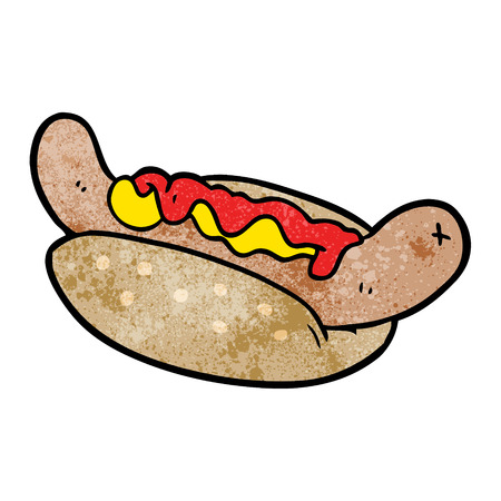 Cartoon fresh tasty hot dog illustration on white background.