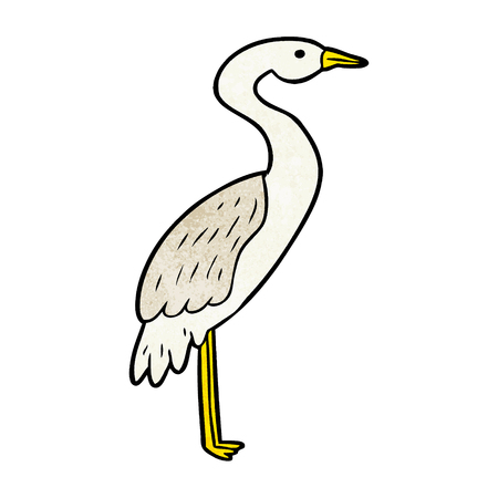 Cartoon stork illustration on white background.