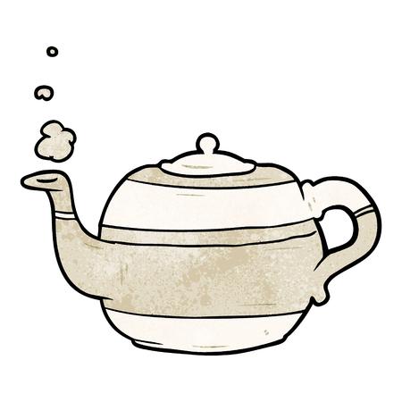 Cartoon tea pot illustration on white background.