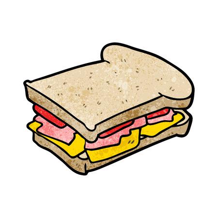 白い背景に漫画ハムチーズトマトサンドイッチイラスト。