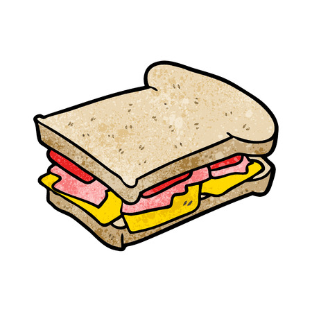 Cartoon ham cheese tomato sandwich illustration on white background.